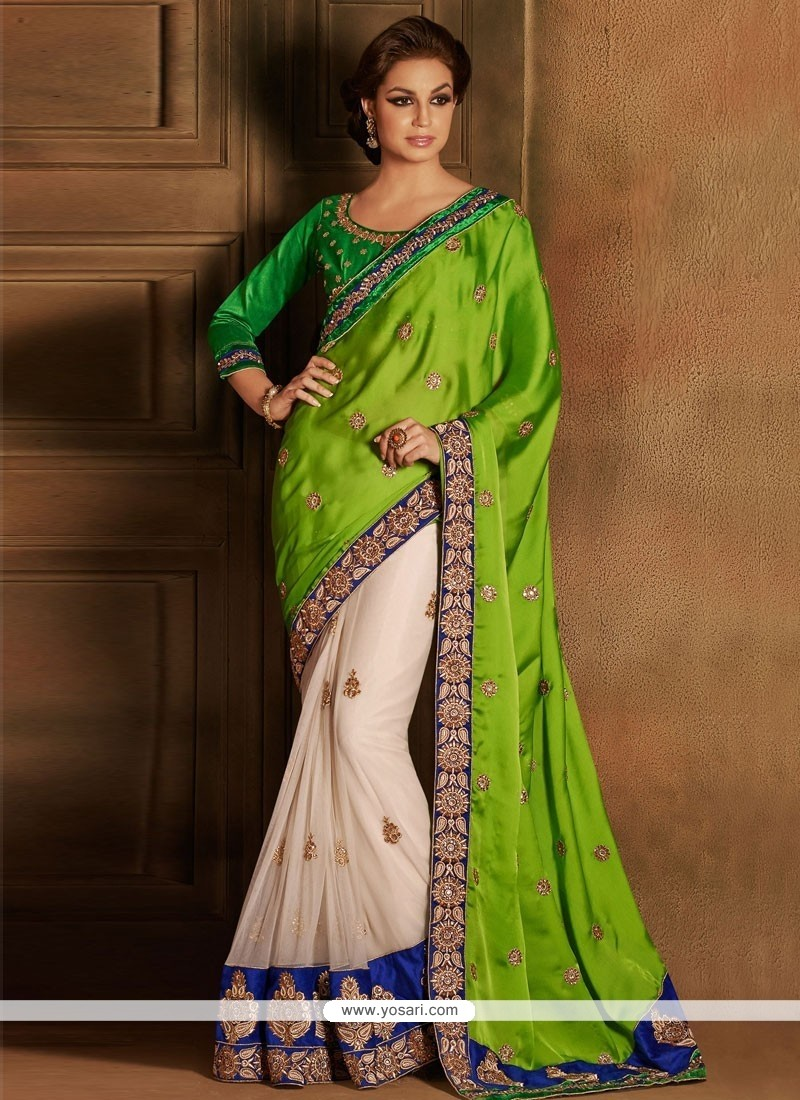Off White And Green Satin Net Designer Saree