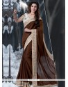 Fab Brown Jacquard Designer Saree