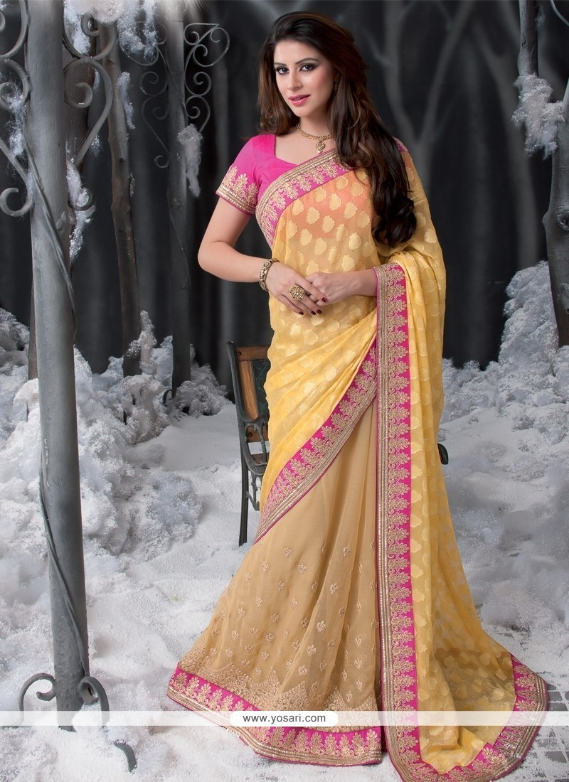Yellow Colour Brasso Georgette Designer Saree