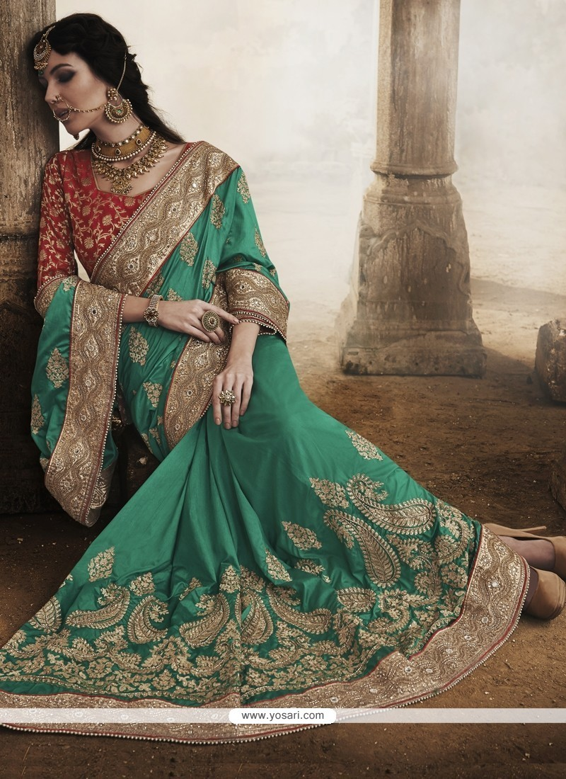 Sea Green Art Silk Party Wear Saree