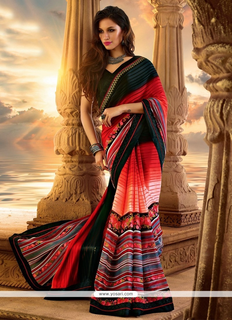 Elite Multicolor Georgette Party Wear Saree