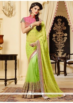Graceful Green Georgette And Net Designer Saree