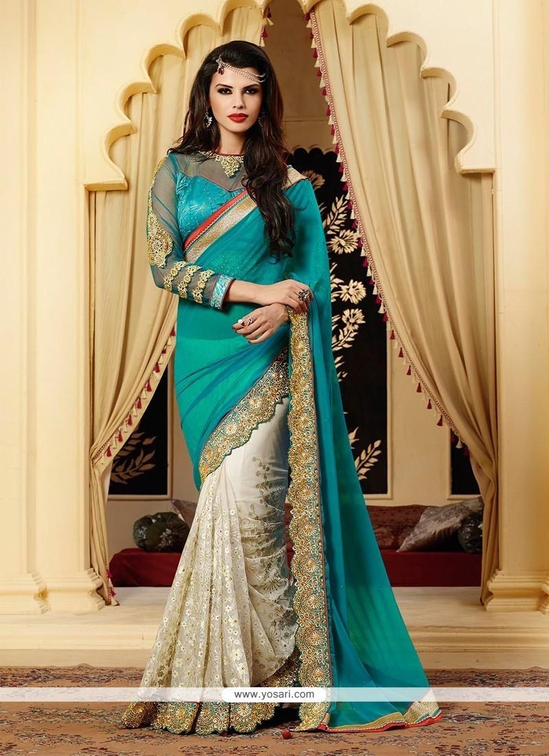 Splendid Off White Net Designer Saree