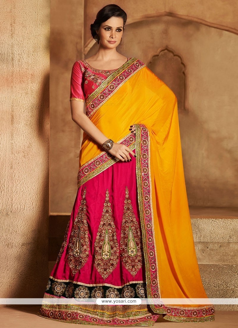 Orange And Pink Velvet Georgette Lehenga Saree
