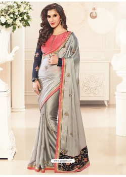 Amazing Grey Satin Georgette Designer Saree