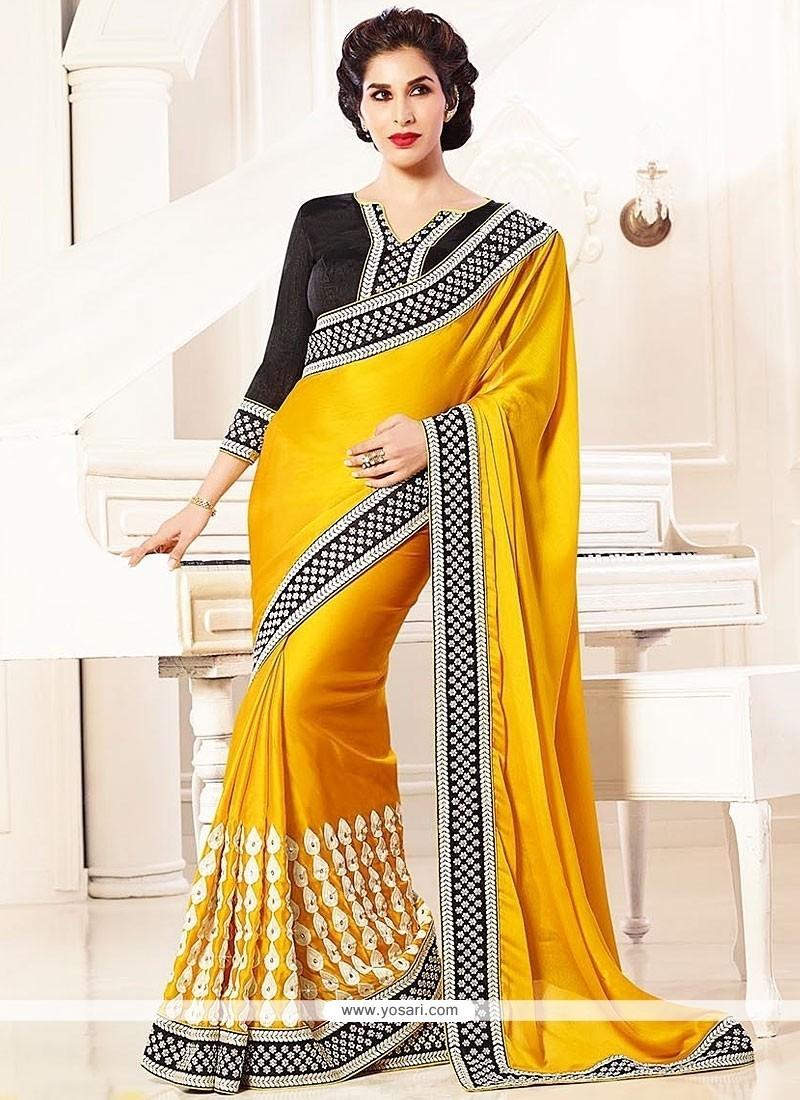 Fabulose Gold Satin Chiffon Designer Saree