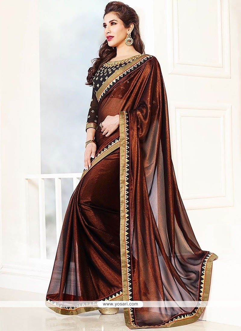 Dazzling Rust Shimmer Designer Saree
