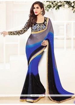 Grey And Blue Shaded Chiffon Satin Saree