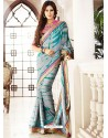 Amazing Grey Satin Georgette Saree