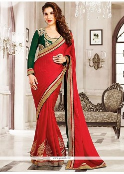 Modern Red Jacquard Georgette Saree