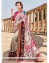 Majestic Faux Crepe Multi Colour Print Work Designer Saree