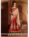 Phenomenal Cream And Maroon Velvet Lehenga Saree