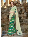 Captivating Green Faux Crepe Designer Saree