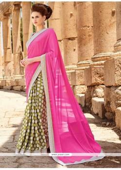 Snazzy Patch Border Work Hot Pink Satin Designer Saree