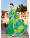 Exciting Faux Crepe Multi Colour Designer Saree