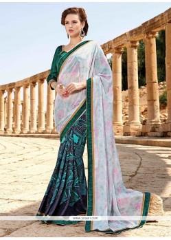 Delectable Patch Border Work Satin Designer Saree