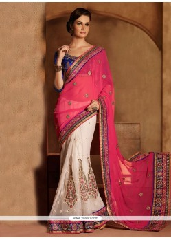 Off White And Pink Zari Net Designer Saree