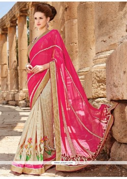 Refreshing Faux Chiffon Embroidered Work Designer Saree