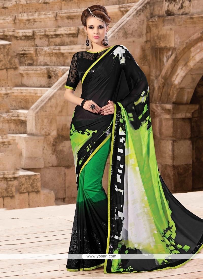 Fashionable Patch Border Work Faux Crepe Designer Saree
