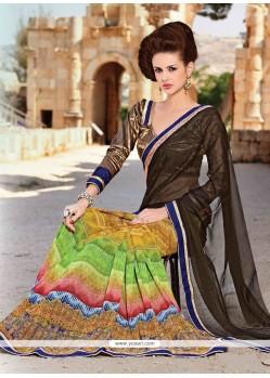 Glitzy Faux Crepe Multi Colour Designer Saree