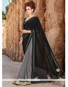 Specialised Embroidered Work Black Faux Chiffon Designer Saree