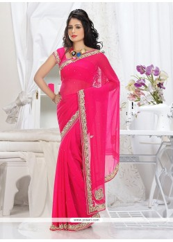 Beauteous pink Shade Faux Chiffon Saree