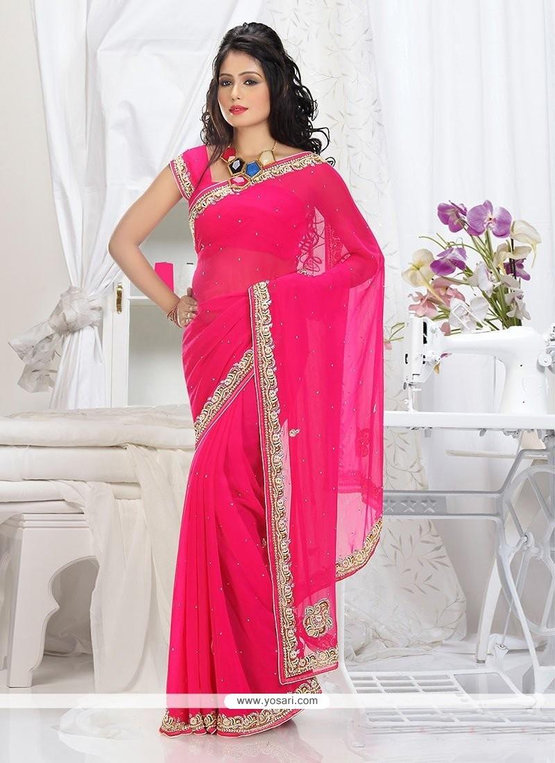 Beauteous pink Shade Faux Chiffon Saree