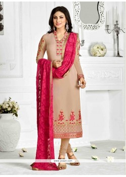 Masterly Patch Border Work Georgette Beige Designer Suit