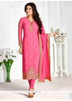 Strange Georgette Pink Patch Border Work Designer Suit