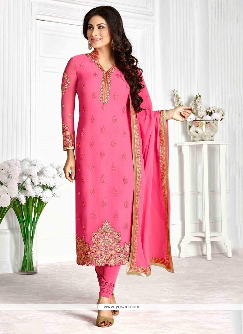 Strange Georgette Pink Patch Border Work Designer Suit