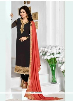Conspicuous Georgette Patch Border Work Designer Suit
