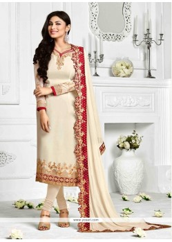 Invaluable Patch Border Work Georgette Cream Designer Suit