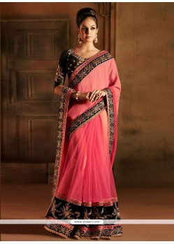 Natural Pink Net Designer Saree
