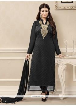 Aspiring Embroidered Work Black Net Designer Straight Salwar Kameez