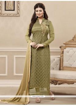 Vivacious Net Green Embroidered Work Designer Straight Salwar Kameez