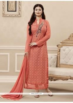Adorable Peach Georgette Designer Straight Salwar Kameez