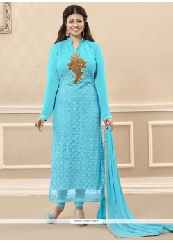 Prominent Georgette Turquoise Embroidered Work Designer Straight Salwar Kameez