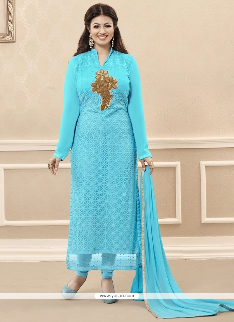 Prominent Georgette Turquoise Embroidered Work Designer Straight Salwar Kameez
