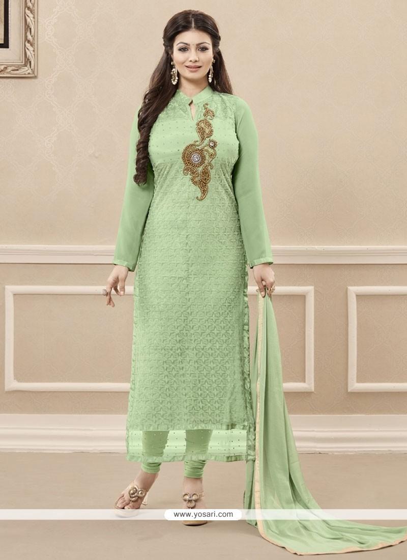 Delightful Sea Green Resham Work Designer Straight Salwar Kameez