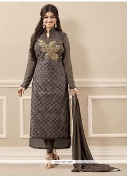 Divine Georgette Grey Resham Work Designer Straight Salwar Kameez