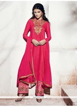 Paramount Georgette Hot Pink Designer Suit
