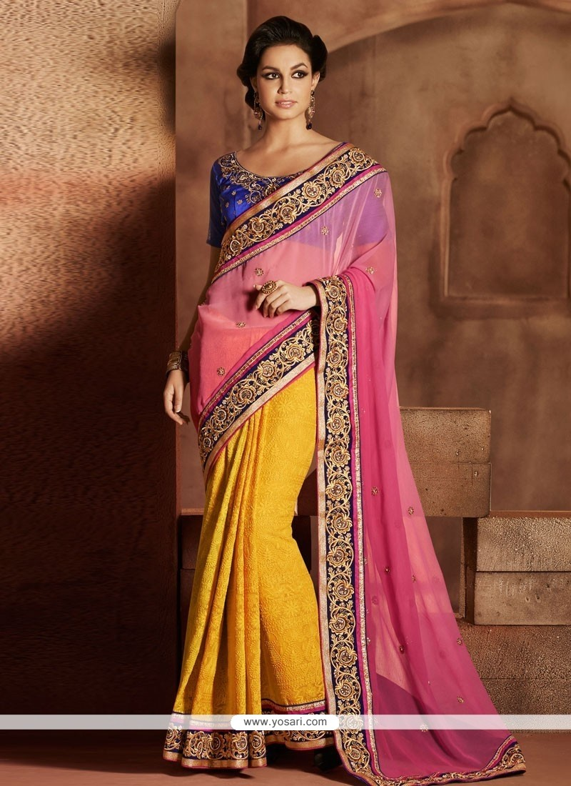 Hot Pink And Orange Faux Chiffon Designer Saree