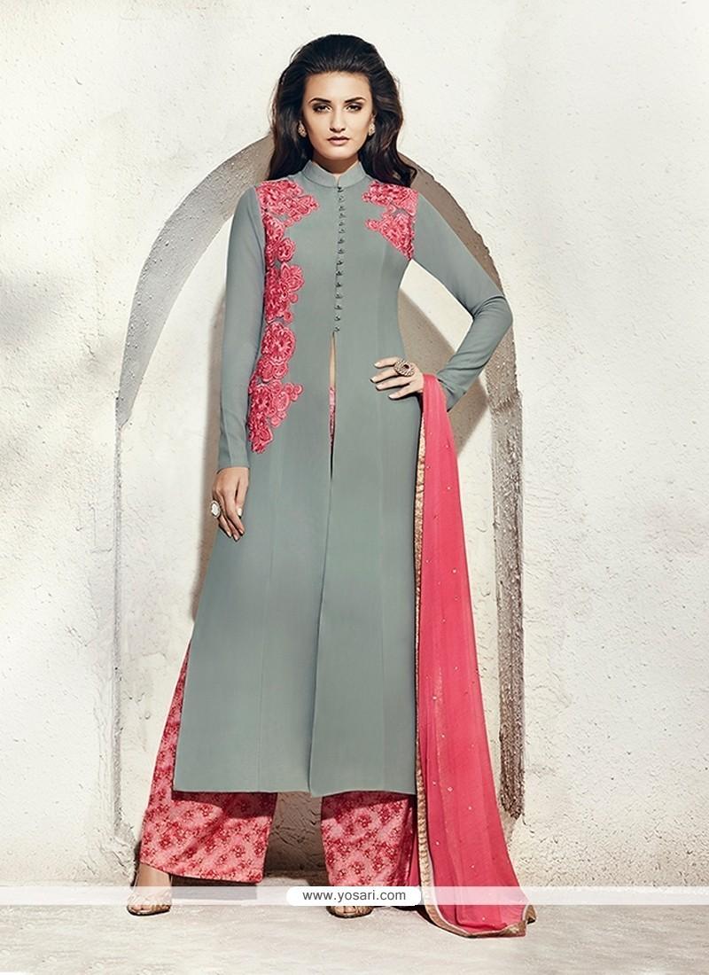 Astonishing Resham Work Grey Designer Suit