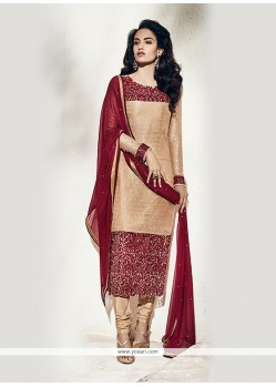Breathtaking Beige Net Designer Suit