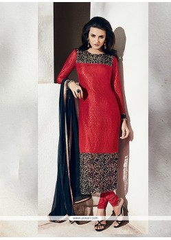 Engrossing Net Embroidered Work Designer Suit