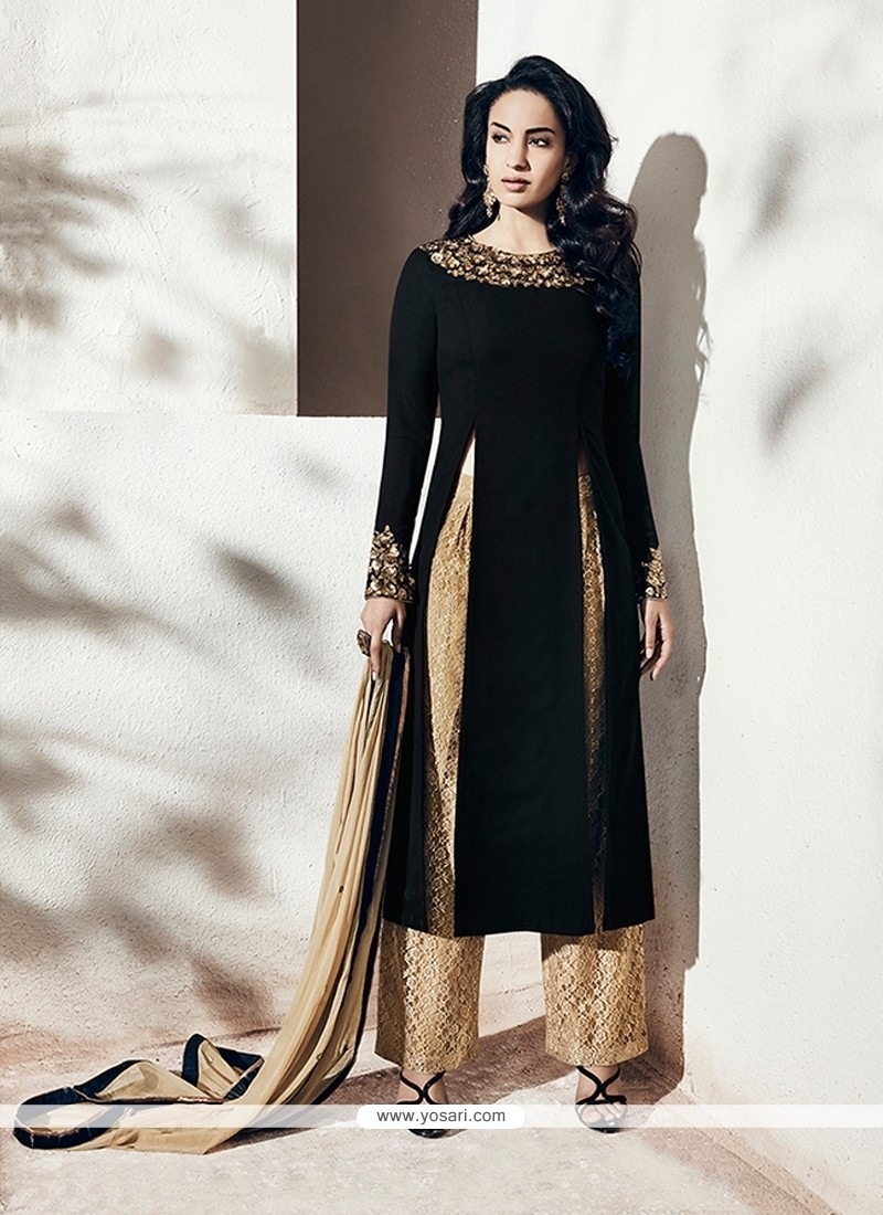 Prominent Aari Work Black Georgette Designer Suit