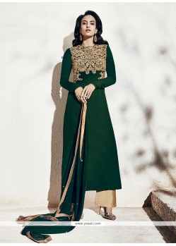 Remarkable Georgette Green Designer Suit