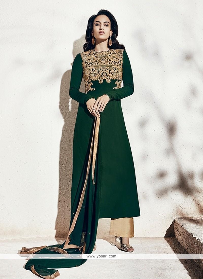 Remarkable Georgette Green Designer Suit
