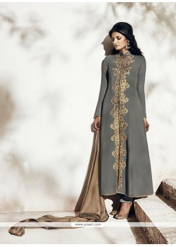 Enchanting Resham Work Grey Georgette Designer Suit