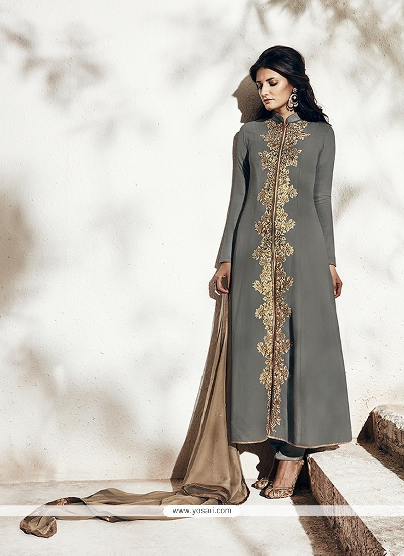 Enchanting Resham Work Grey Georgette Designer Suit
